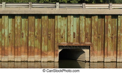 DVP and Don River. Detail. Toronto. - Steel wall and barrier...