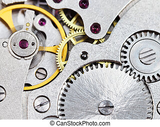 background from steel clockwork of vintage watch -...