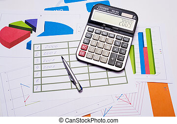 calculation - chart with calculator and pen