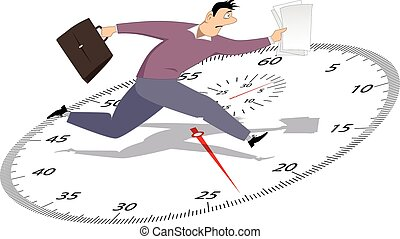 Businessman in a hurry - Stressed man running with papers on...