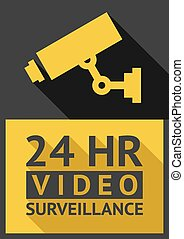 security camera - Flat sticker security camera 05, vector...