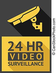 security camera - Flat sticker security camera 04, vector...