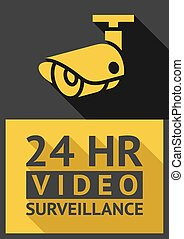 security camera - Flat sticker security camera 03, vector...
