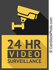 security camera - Flat sticker security camera 02, vector...
