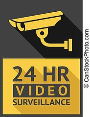security camera - Flat sticker security camera 01, vector...