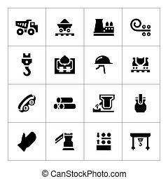 Set icons of metallurgy isolated on white