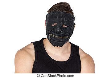foto, hombre, máscara, joven, negro