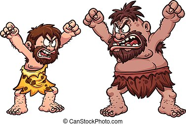 Cavemen fighting - A couple of cavemen arguing Vector clip...