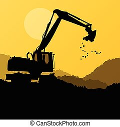 Excavator digger in action vector background concept for...