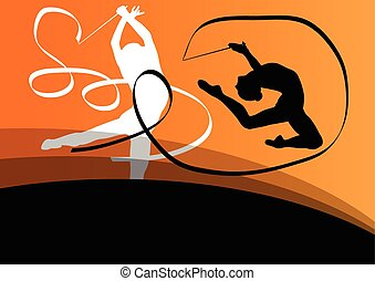 aktiv, ung, flicka, Gymnasts, silhouettes, In, akrobatik,...