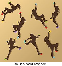 Girl climbing rock wall set vector background concept for...