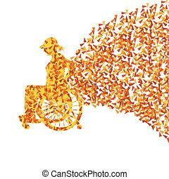 Woman in wheelchair vector background disabled people...