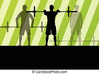 Crossfit training with weights vector background concept for...