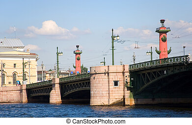 View of the Palace bridge and Rostral Columns in St.Petersburg, Russia