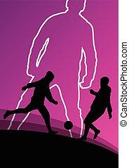 futebol, futebol, jogadores, Ativo, jovem, e,...