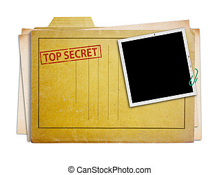 top secret folder isolated - top secret folder with old...