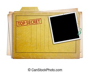 top secret folder isolated - top secret folder with old...