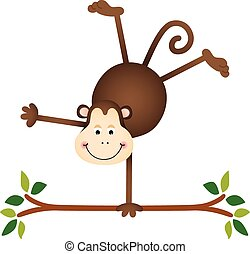 Cute monkey on a tree