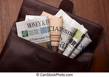 Business Sections - Beautiful leather folder filled with...