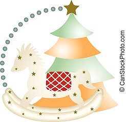 New year wooden horse and christmas - Scalable vectorial...