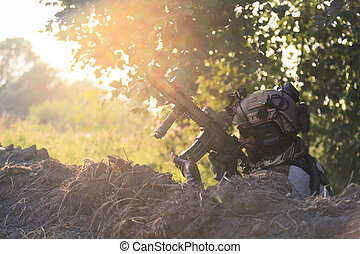 American Soldier using his rifle