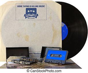 retro, grafica, vinile, disco, interno, Manica, con, 1980s,...
