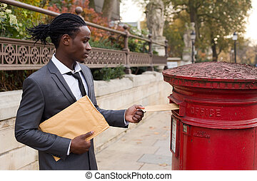 business man sending letters