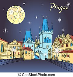 Charles Bridge in Prague Czech Republic at night lighting -...