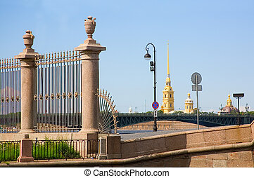 View of the Peter and Paul Fortress and Summer Garden grill...