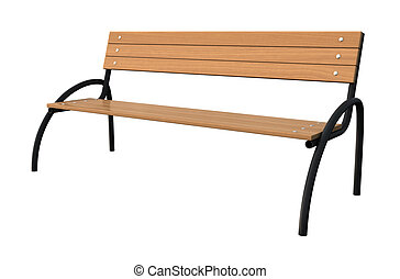 Bench - 3d render of garden bench isolated over white...