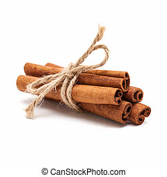 Cinnamon sticks - Five cinnamon sticks tied by rope isolated...