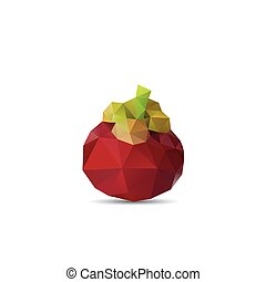 Polygonal fruit - mangosteen. Vector illustration -...