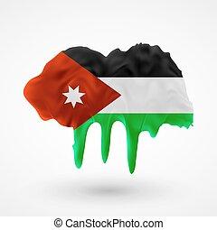 Flag of Jordan painted colors