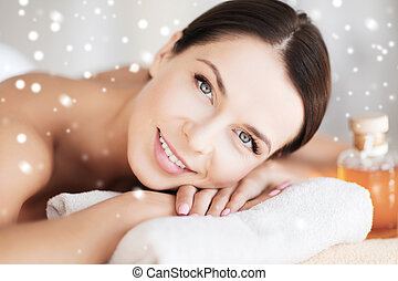 beautiful young woman in spa - beauty, health, people and...