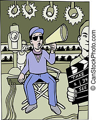 director set cartoon image of a studio set.