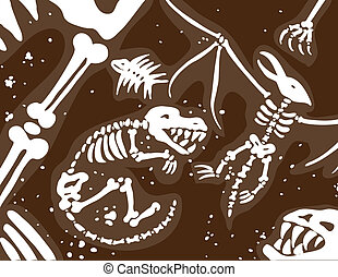 Fossil Background image of buried bones in a brown and white...