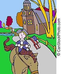 patriotic kid cartoon image of a colonial horse rider.