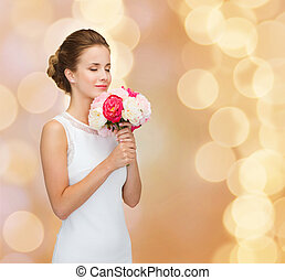 smiling woman in white dress with bouquet of roses - people,...