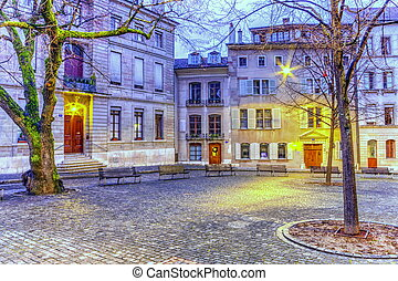 Court Saint-Pierre in the old city, Geneva, Switzerland, HDR...