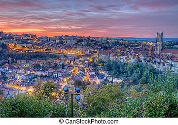 View of Fribourg city, Switzerland, HDR - View of cathedral...
