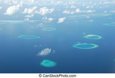 View on Maldives Islands from airplane - beautiful view of...
