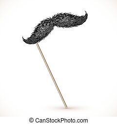 Black realistic vector mustaches on stick - Black realistic...
