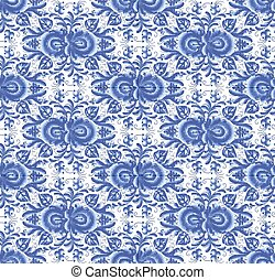 Blue floral seamless pattern in gzhel style