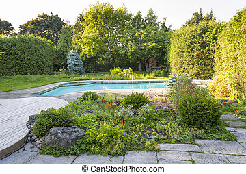 Garden and swimming pool in backyard - Backyard rock garden...