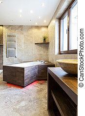 Modern bathtub in luxury bathroom - View of modern bathtub...