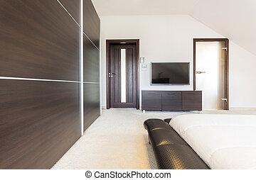 lujo, dormitorio, en, moderno, diseño,
