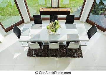 Long table in dinning room - View of long table in dinning...