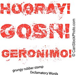 Grunge rubber stamp with text hooray gosh geronimo ,vector...