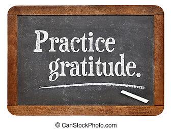 gratitud, pizarra, práctica