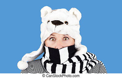 Woman with funny bear hat - Funny face woman with polar bear...